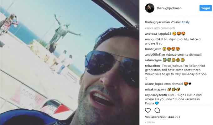 Video selfie di Hugh Jackman a Polignano a Mare!