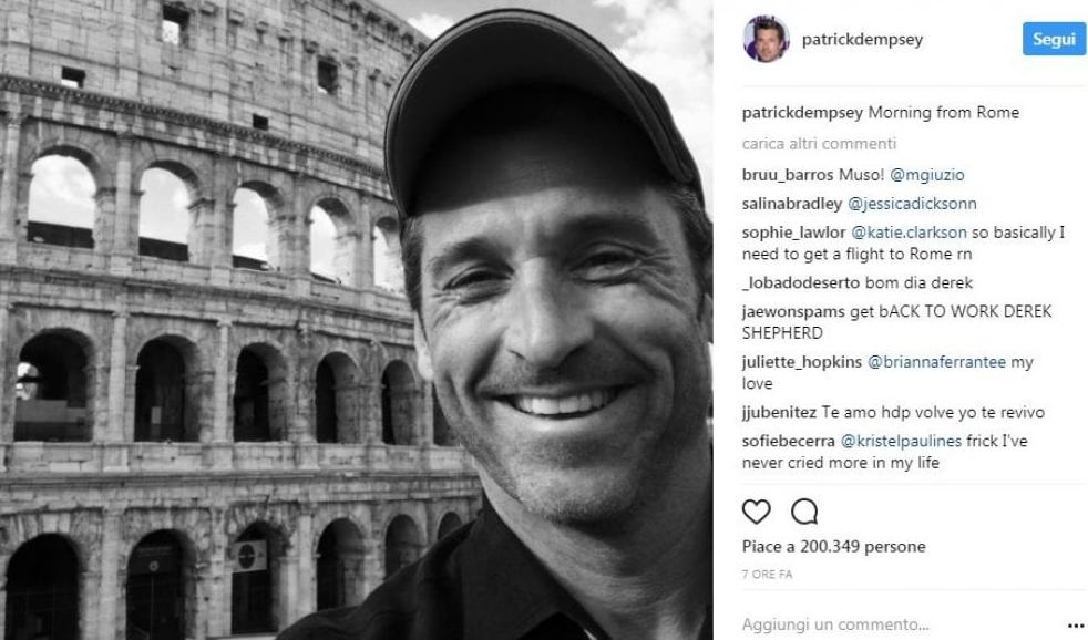 Patrick Dempsey è a Roma: la prova arriva da un selfie in bianco e nero!