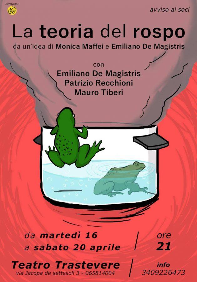"""Al Teatro Trastevere """"La Teoria del Rospo"""", dal 16 al 20 aprile"""