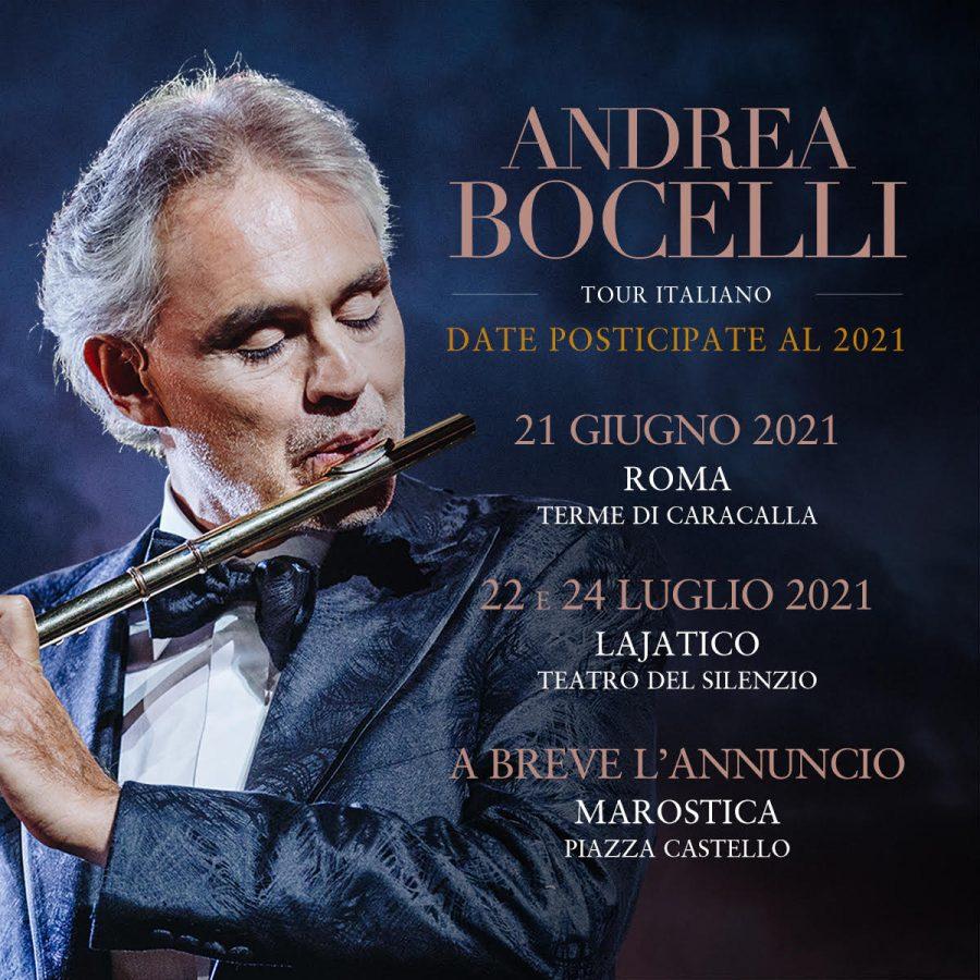 Andrea Bocelli: rimandati al 2021 i tre grandi eventi italiani